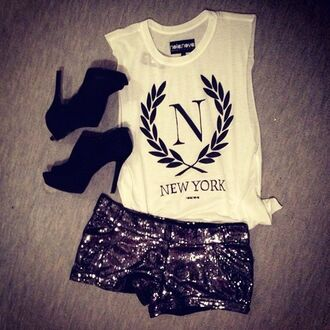 t-shirt clothes crop tops tank top white crop tops white new york city shorts black sequins sequin shorts shoes