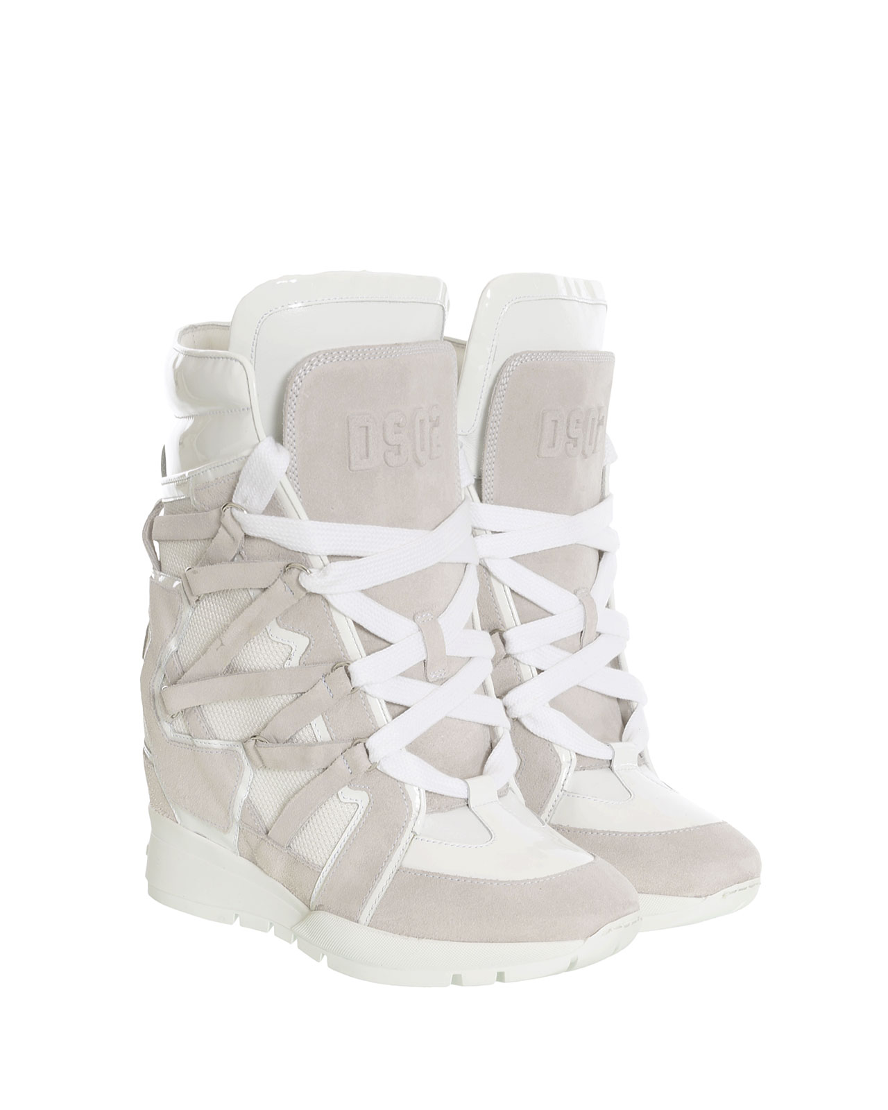 Dsquared wedge sneaker in pearlgrey/white