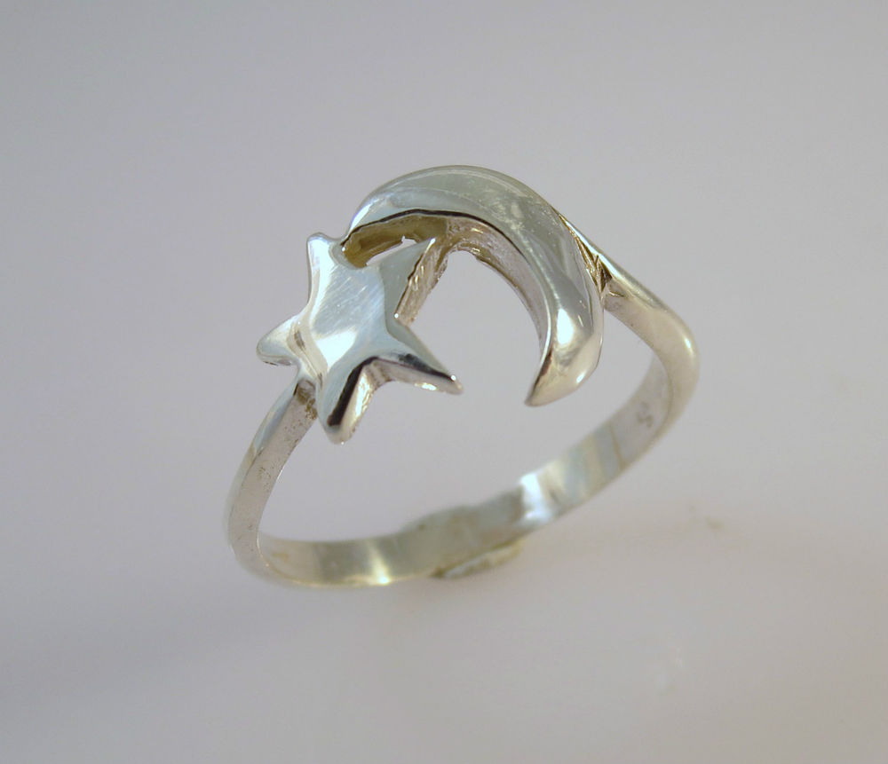 925 Sterling Silver Shiny Single Star Moon Ring New Size 5 9 New 04187 | eBay