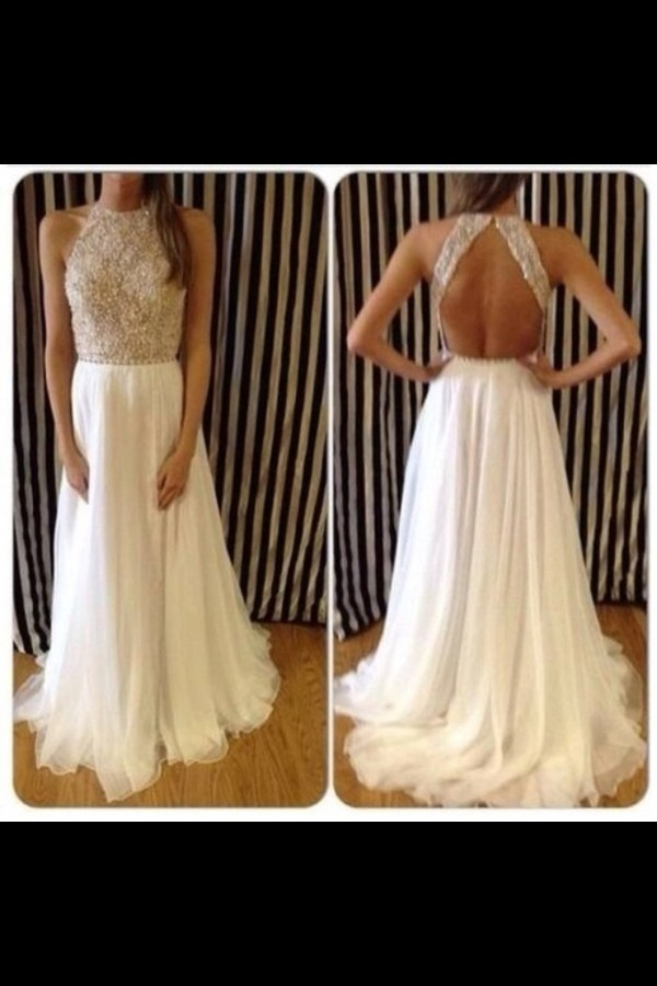dress prom dress long prom dress white dress silver high neck high neck jewels cream prom dress open back long