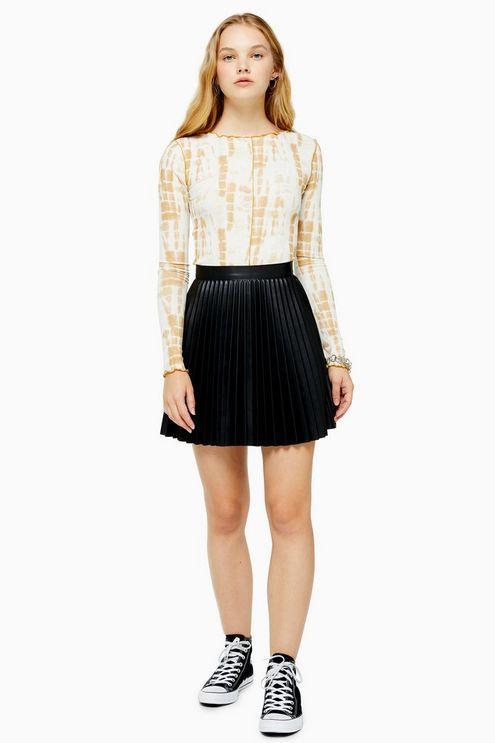 Black Pu Pleated Mini Skirt - Black