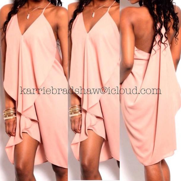 dress bodycon dress peach dress
