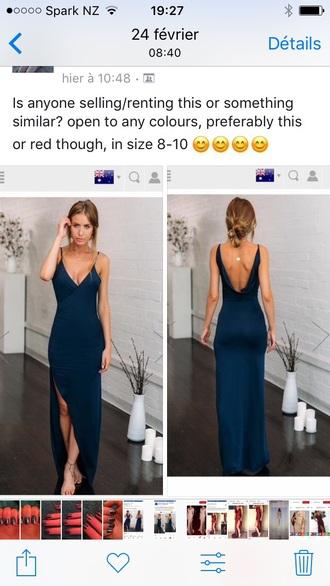 dress silk low back blue v neck leg slit long elegant thigh slit prom dress formal dress
