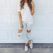 shirt,t-shirt,summer,top,soft grunge,striped shirt,bag,jeans,ripped jeans,stripes,white t-shirt,light blue jeans,jewels