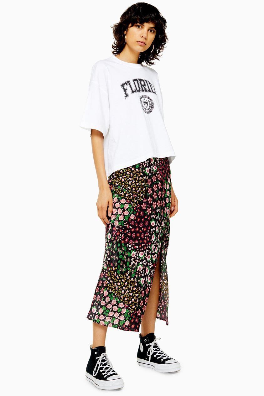 Womens Tall San Diego Black Patchwork Floral Bias Skirt - Multi
