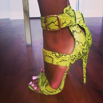 shoes pear green snakeskin sandal the daileigh snake print neon yellow heels stilettos