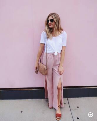 pants tumblr slit pants pink pants wide-leg pants t-shirt white t-shirt sandals flat sandals bag nude bag shoes