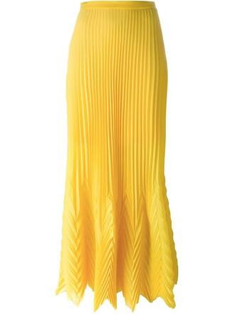 skirt long skirt pleated long yellow orange