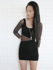 dress,mesh,mesh sleeves,mesh panel,bodycon dress,mini dress