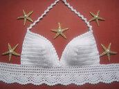 swimwear,bikini,bikini top,crochet bikini,brazilian bikini,hand knit bikini,bustier,crochet top,halter top,crochet halter top
