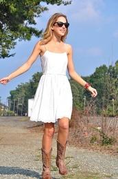 dress,cowboy boots,lace dress,little white dress,white lace,shoes,lace,boots,white dress