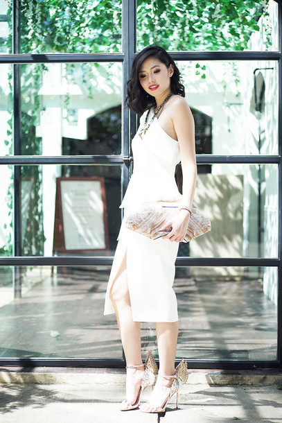 olivia lazuardy blogger slit dress white dress one shoulder sandals butterfly dress shoes bag