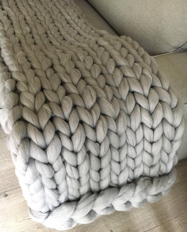 Thick Merino Wool Blanket Giant Chunky Huge
