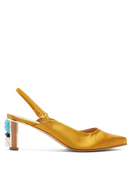 Gabriela Hearst embellished pumps satin gold shoes