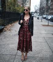 dress,tumblr,burgundy,burgundy dress,midi dress,eyelet dress,eyelet detail,red lace dress,lace dress,sandals,sandal heels,high heel sandals,jacket,black jacket,black leather jacket,leather jacket,sunglasses,aviator sunglasses