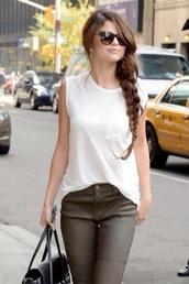 shirt,selena gomez,sunglasses,jeans