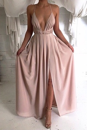 dress fashion prom formal long pastel pink fancy slit open front