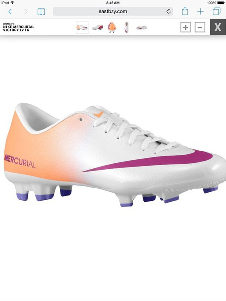 shoes white peach colored soccer cleatsss