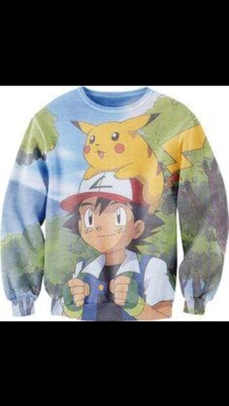 sweater pokemon, ash, pikachu, cute pokemon pikachu ash