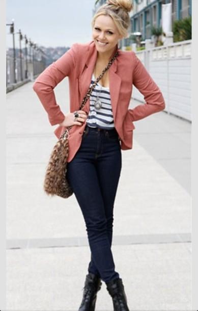 Jacket cute outfit blue jeans leopard purse striped blouse bag blouse jeans highwaisted ...