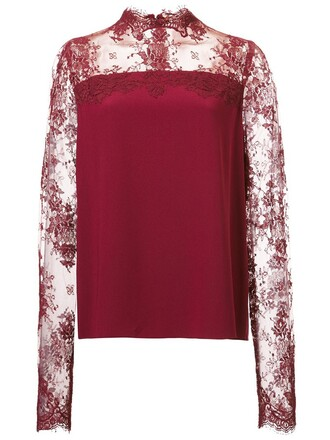 blouse lace red top