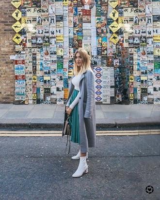 coat grey coat skirt midi skirt boots white boots top pleated pleated skirt ankle boots white top