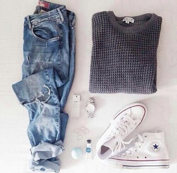 sweater grey sweater jeans jewels white purple and blue converse boyfriend jeans