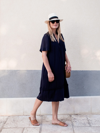 style and minimalism blogger dress bag shoes sunglasses jewels midi dress blue dress slide shoes round bag summer outfits