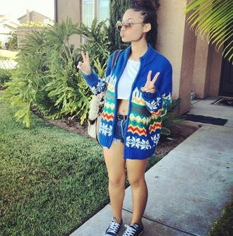 jacket blue sunglasses india westbrooks tote bag bag shorts cropped top chuck taylor all stars converse aztec knitwear india westbrooks