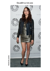 jacket,celebstyle for less,leather jacket,gold sequins,sequin dress,black heels,eyeliner,make-up,party outfits,troian bellisario,dress,shoes,gold jewelry,necklace,jewels,celebrity style