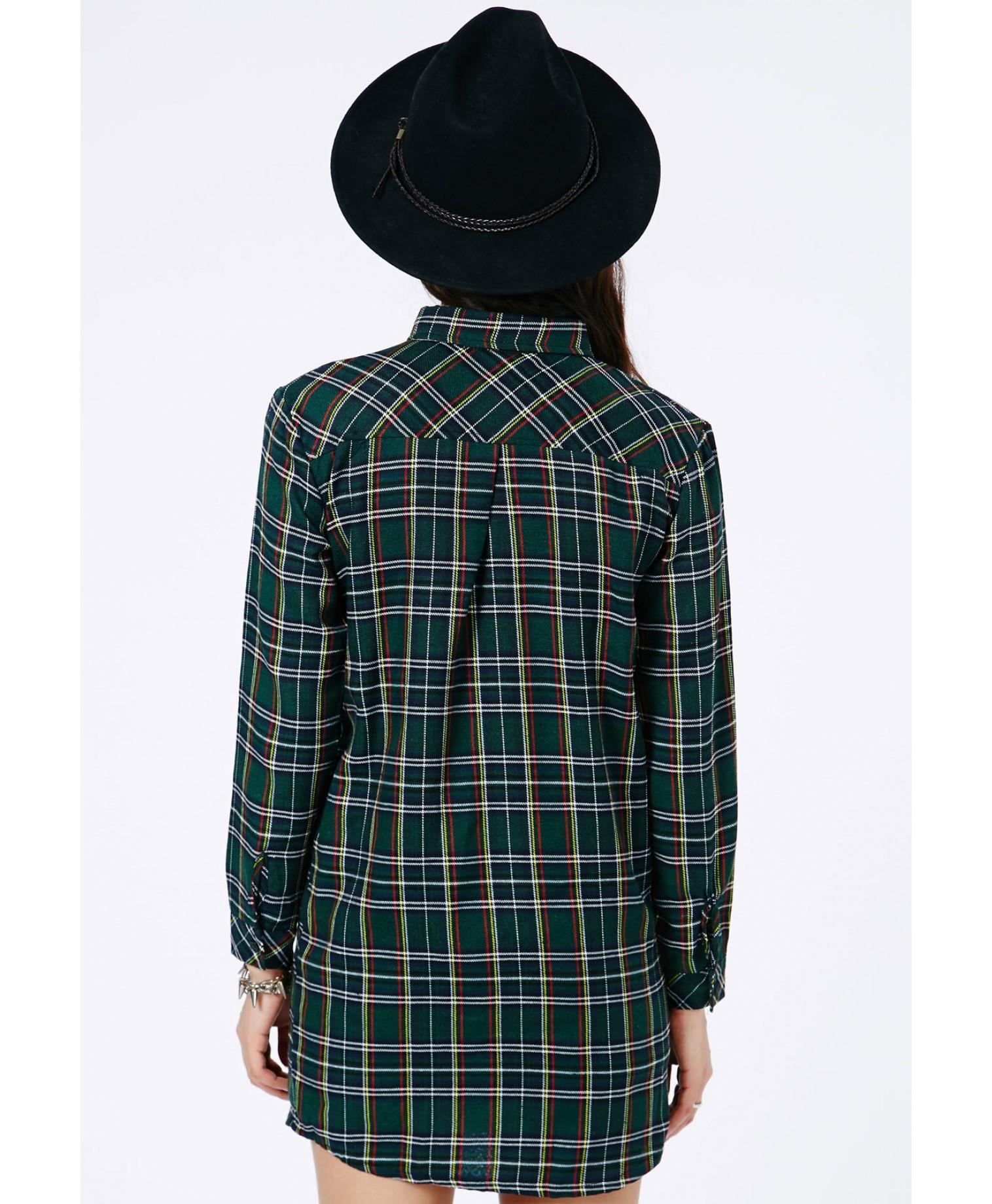 Missguided - Emery Tartan Oversized Shirt Dress In Deep Green