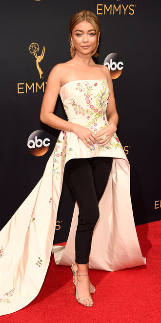 top strapless asymmetrical sarah hyland red carpet emmys 2016 pants floral