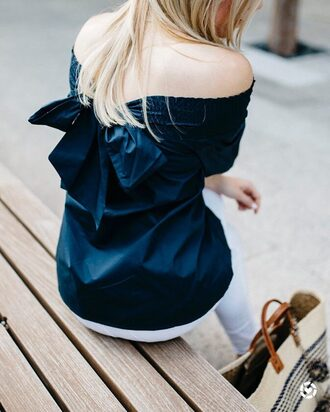 top tumblr off the shoulder off the shoulder top blue top bow