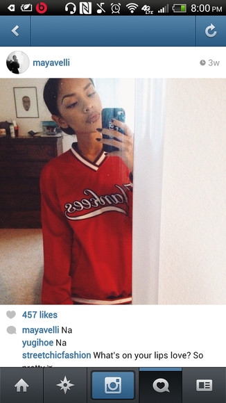 red sweater sweatshirt yankees cute