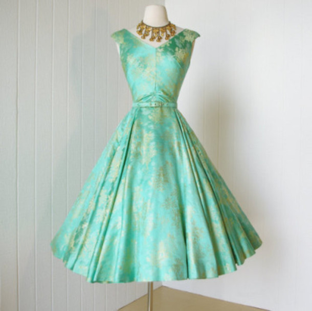 dress turquoise dress 40 s vintage dress cute dress cocktail dress pretty  dress! da7c11ef5