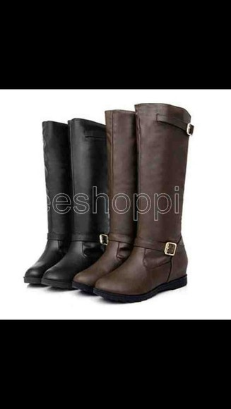 shoes flat black boots buckle brown leather knee high