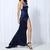 Navy Maxi Slit Elegant Silk Satin With Back Tail on Storenvy