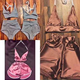 shorts crop tops high waisted shorts silky bralette grey