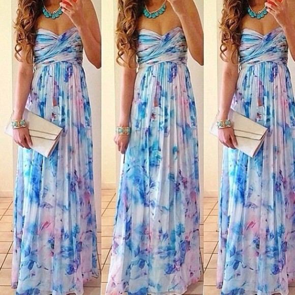 clutch dress maxi floral flowers necklace mint blue maxi dress