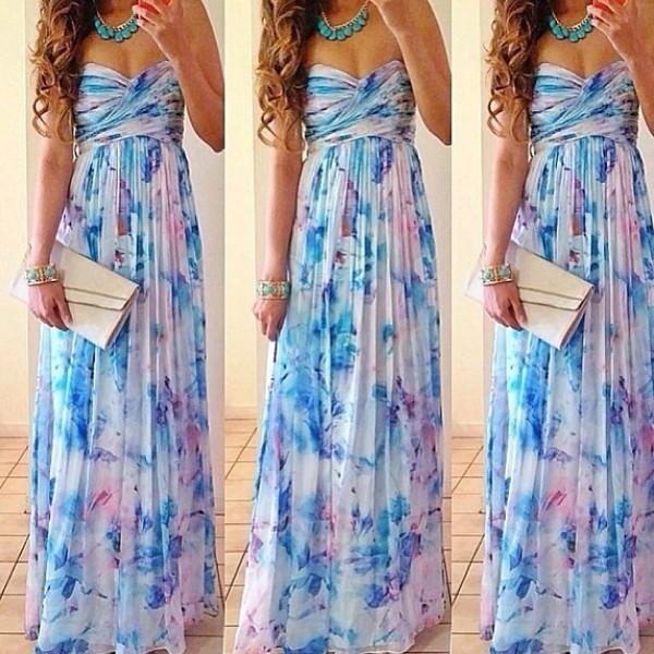 dress maxi floral flowers necklace mint blue clutch maxi dress
