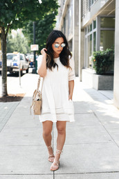 dress,sunglasses,tumblr,white dress,mini dress,bag,nude bag,sandals,flat sandals,shoes