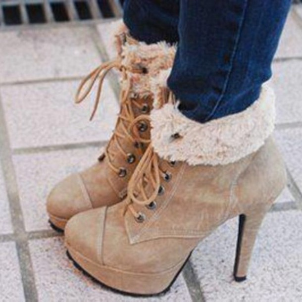 shoes wooly boots beige heeled boots