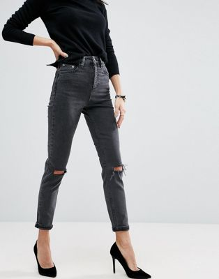 ASOS DESIGN Farleigh high waist slim mom jeans in washed black with busted knees at asos.com