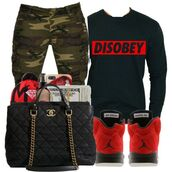 shirt,camouflage,chanel,chanel inspired,bag,black purse,big purse,cargo pants,green cargo pants,disobey,obey,long sleeves,black,red,air jordan,cute outfits,outfit,dope,swag,streetwear,jeans,clothes,shoes,jordans,sweater,money,pants,camo pants,purse,jacket