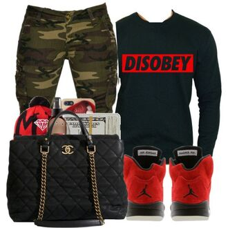 shirt camouflage chanel chanel inspired bag black purse big purse cargo pants green cargo pants disobey obey long sleeves black red air jordan cute outfits outfit dope swag streetwear jeans clothes shoes jordans sweater money pants camo pants purse jacket