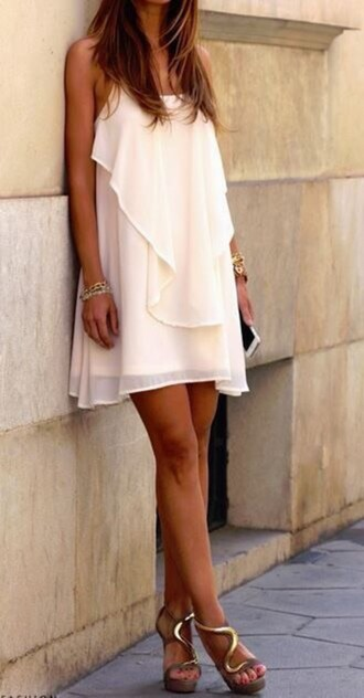 dress white layered flowy short cream designer chiffon giuseppe zanotti shoes mesh creme flowy dress clothes flowy dress