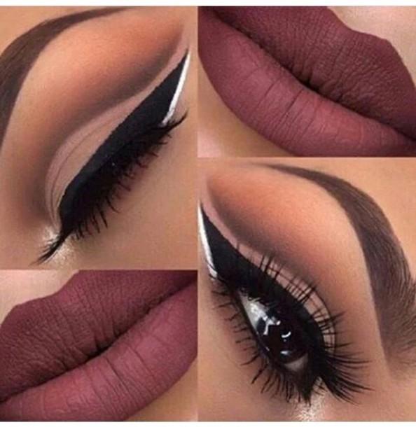 make-up mxlisa.xo beautiful details on fleek eye makeup makeup palette face makeup cosmetic makeup bag purple lipstick eye shadow purple eyeliner lipstick lips colorful mac lipstick red dark lipstick