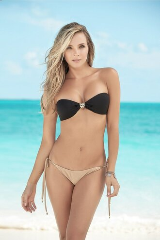 swimwear bandeau bikini set black adjustable straps ruched bottom mapalé sexy two piece swimsuit