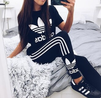 jumpsuit leggings adidas instagram sportswear shirt adidas shirt cute hot perfecto workout fitness dress girly make-up style fashion toast shorts shoes pants black