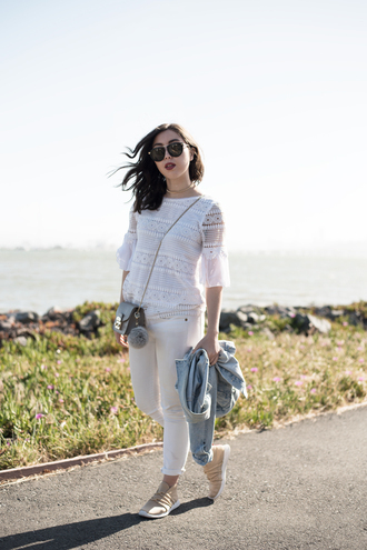 readytwowear blogger top jeans sunglasses underwear white top denim jacket sneakers white pants spring outfits